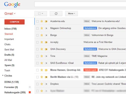 Skærmbillede fra Gmail, hvor man kan markere e-mails, man vil huske, med en stjerne.