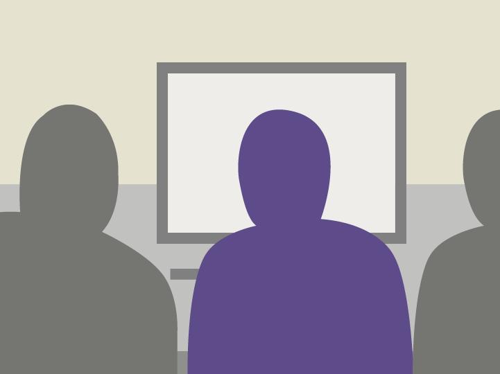 Illustration af en bruger, der sidder ved en computer, sammen med to usability-konsulenter.