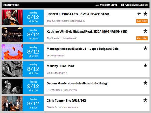 Skærmbillede af Jazzfestivalens website, hvor der er en stjerne ud fra hver koncert.