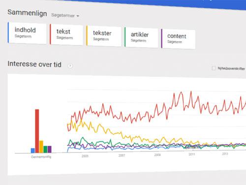 Skærmbillede af keyword-research med Google Trends
