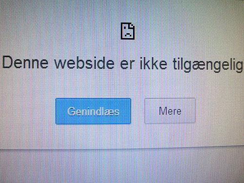 Skærmbillede med en fejlmeddelelse om, at en webside ikke kan vises.