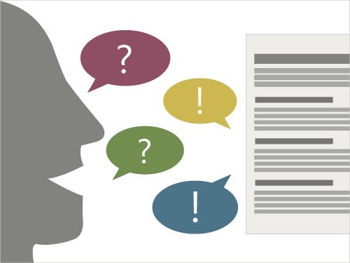 Model viser princippet i Content as Conversation: Mellemoverskrifterne besvarer brugernes spørgsmål.