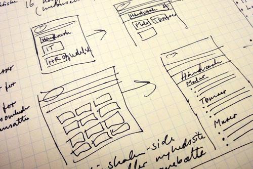 Håndtegnet skitse af websider.